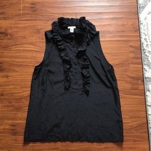 Black silk Jcrew black ruffle blouse size 6